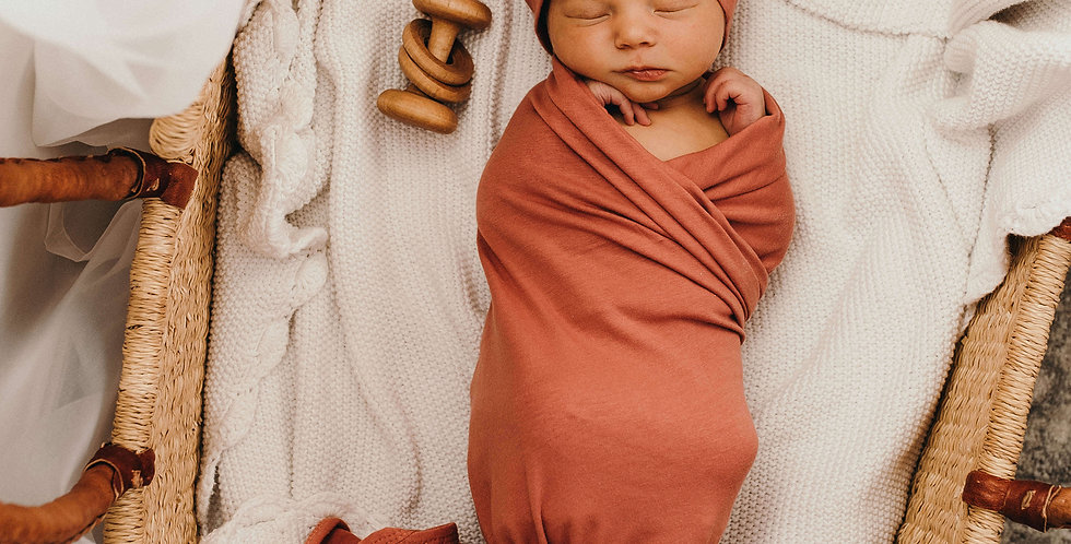 Snuggle Hunny - Clay  Baby Jersey Wrap & Beanie Set