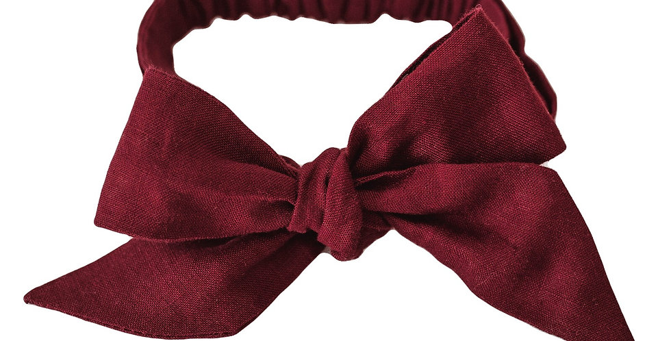 Snuggle Hunny - Burgundy Linen Bow Pre-Tied Headband Wrap
