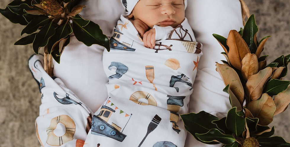 Snuggle Hunny - Shipwreck Baby Jersey Wrap & Beanie Set