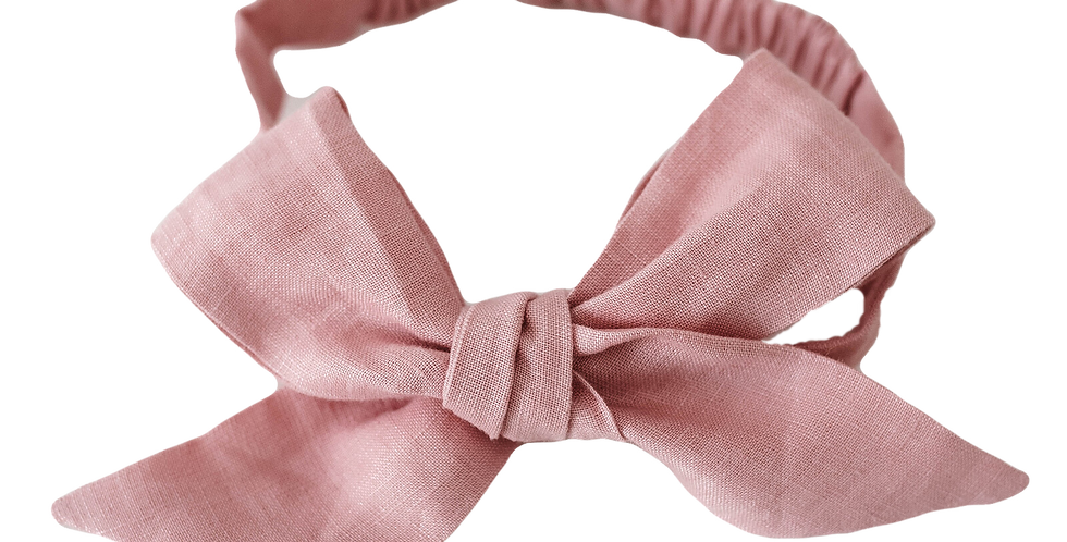 Snuggle Hunny - Dusty Pink Linen Bow Pre-Tied Headband Wrap