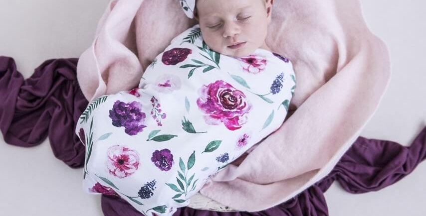 Snuggle Hunny - Peony Bloom  Snuggle Swaddle & Topknot Set