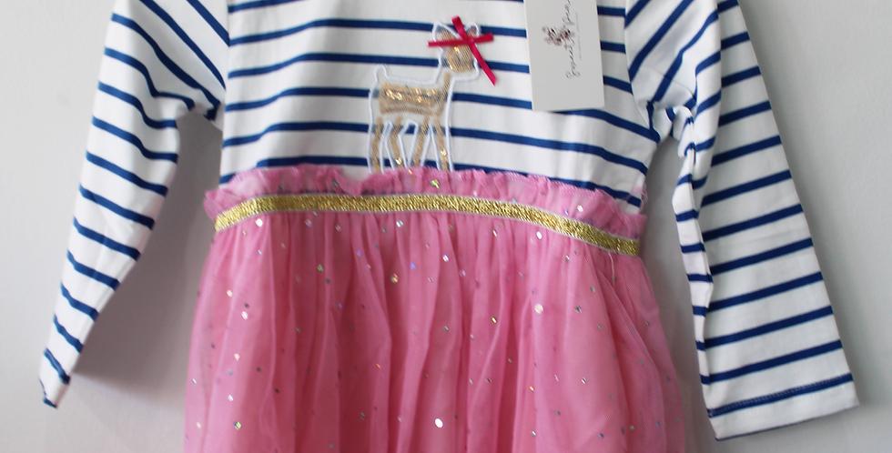 Sweet Pea - Blue & White Striped Deer Dress