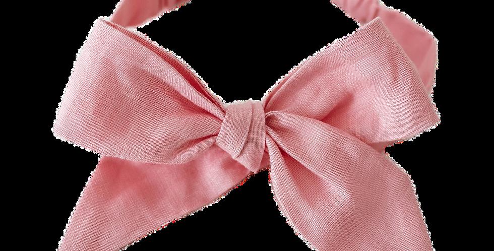 Snuggle Hunny - Baby Pink Linen Bow Pre - Tied Headband Wrap