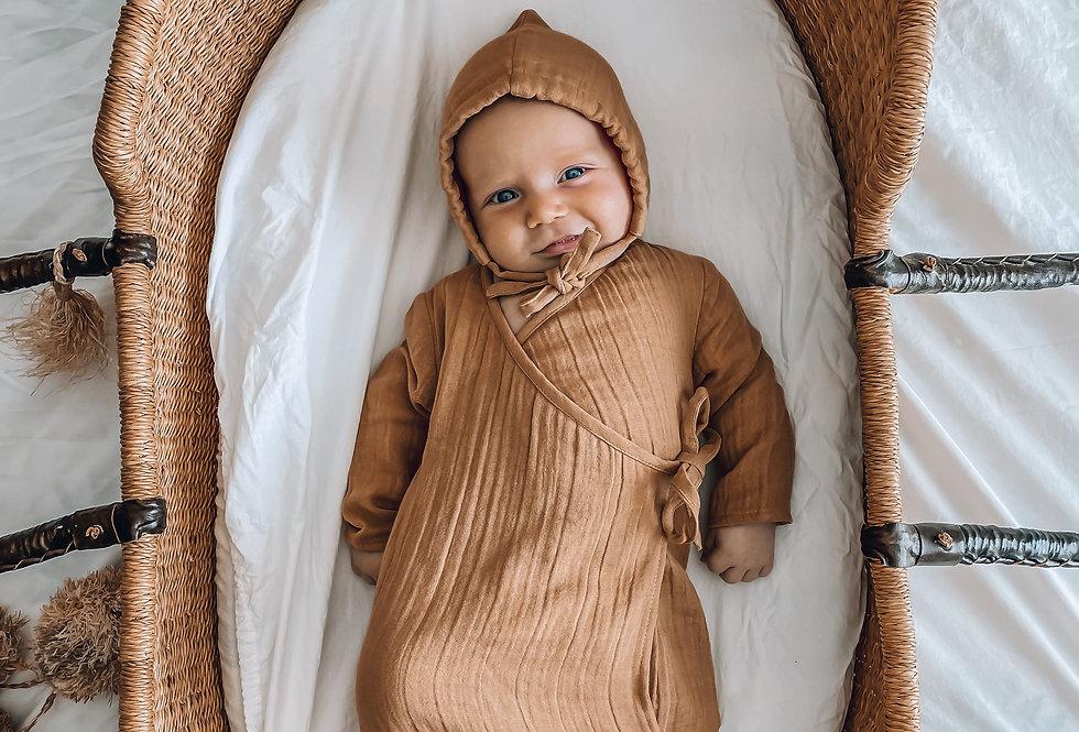 Pop Ya Tot - Newborn Gown | Tan
