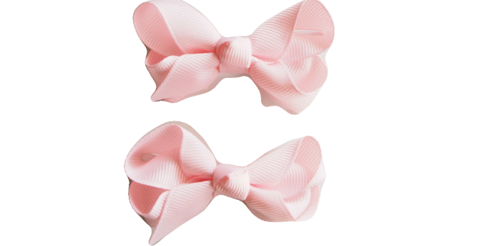 Snuggle Hunny- Light Pink Clip Bow - Small Piggy Tail Pair