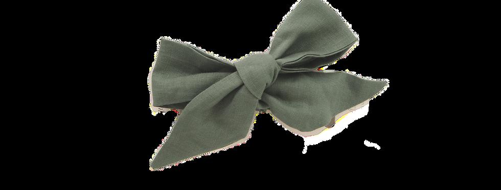 Snuggle Hunny - Olive Linen Bow Pre-Tied Headband Wrap