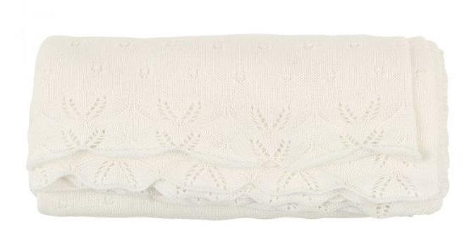 Mini Haha - BÉBÉ - Ivory Pointelle Blanket