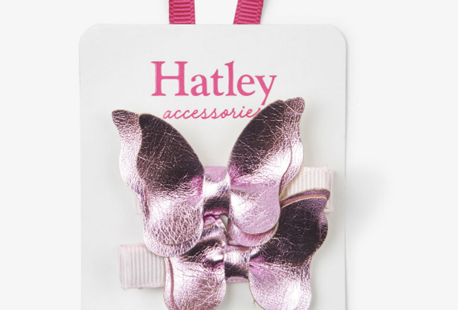 Hatley - Pink Shimmer Bowterflies Hair Clips