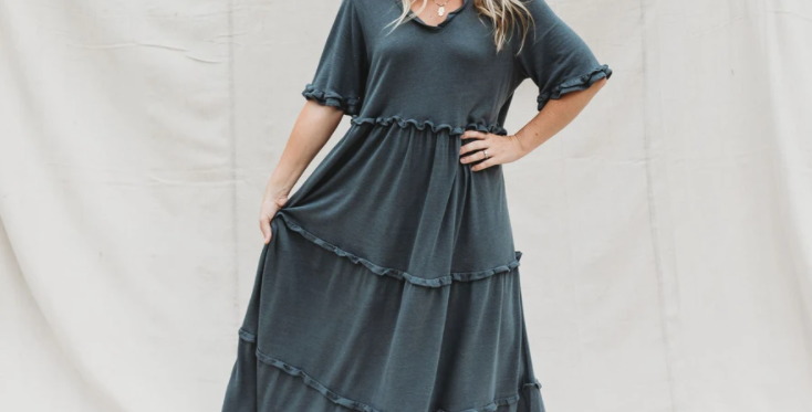 Halo & Horns - Woman Charlee Maxi Dress   Charcoal Luxe