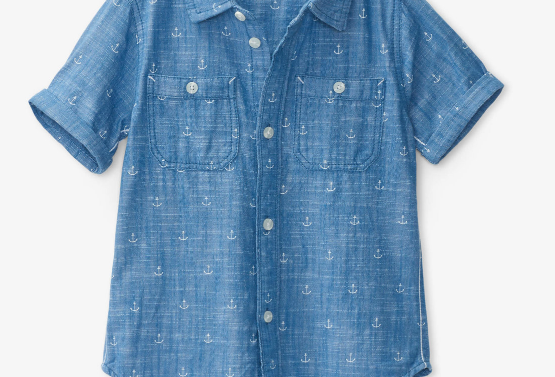 Hatley - Chambray Anchors Short Sleeve Button Down Shirt