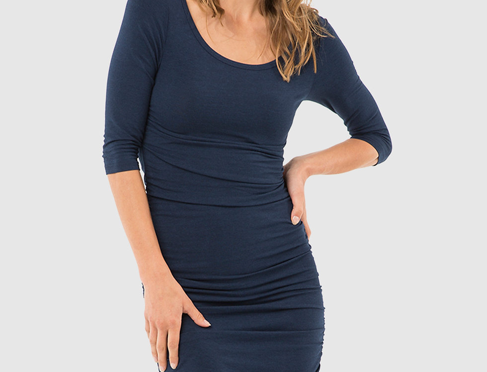 Bamboo Body - 3/4 Sleeve Ruched Dress