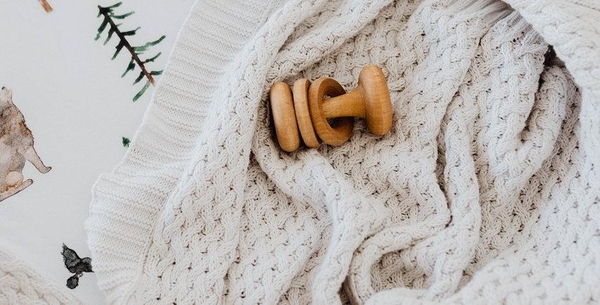 Snuggle Hunny - Warm Grey Diamond Knit Baby Blanket