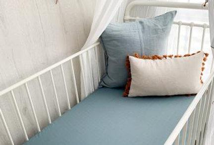 Pop Ya Tot - Pewter Blue Muslin Sheets