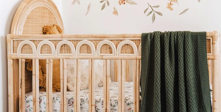 Snuggle Hunny - Olive Diamond Knit Baby Blanket