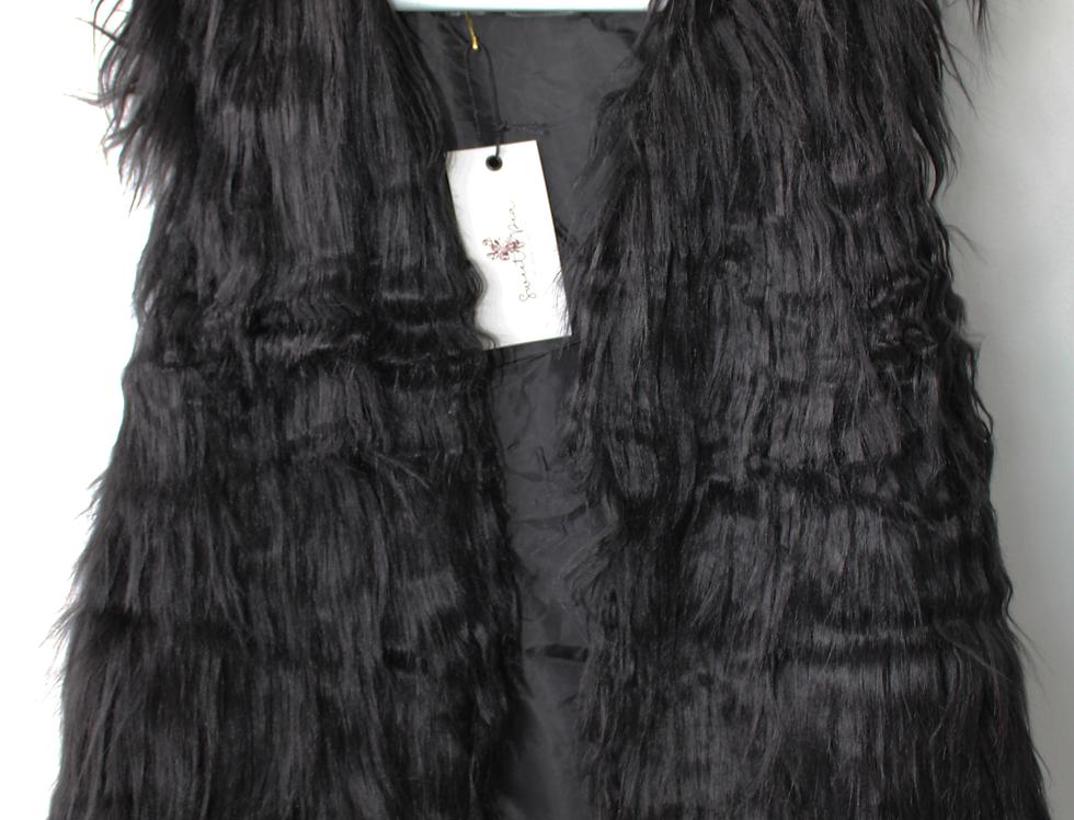 Sweet Pea - Black Fur Vest
