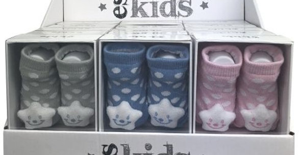 Es Kids - Boxed 15 Pack Star Socks with Rattles