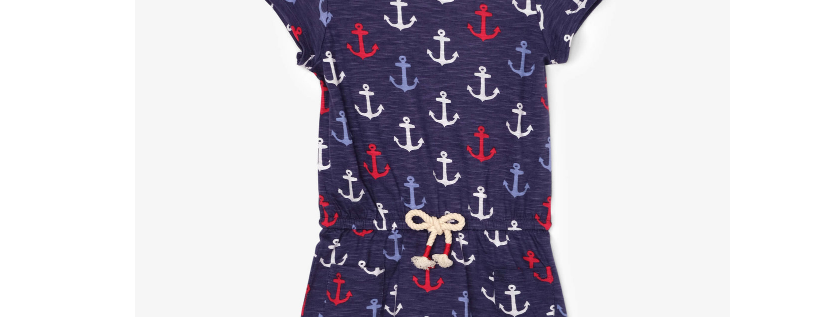 Hatley - Nautical Anchors Front Pocket Drop Waist Dress