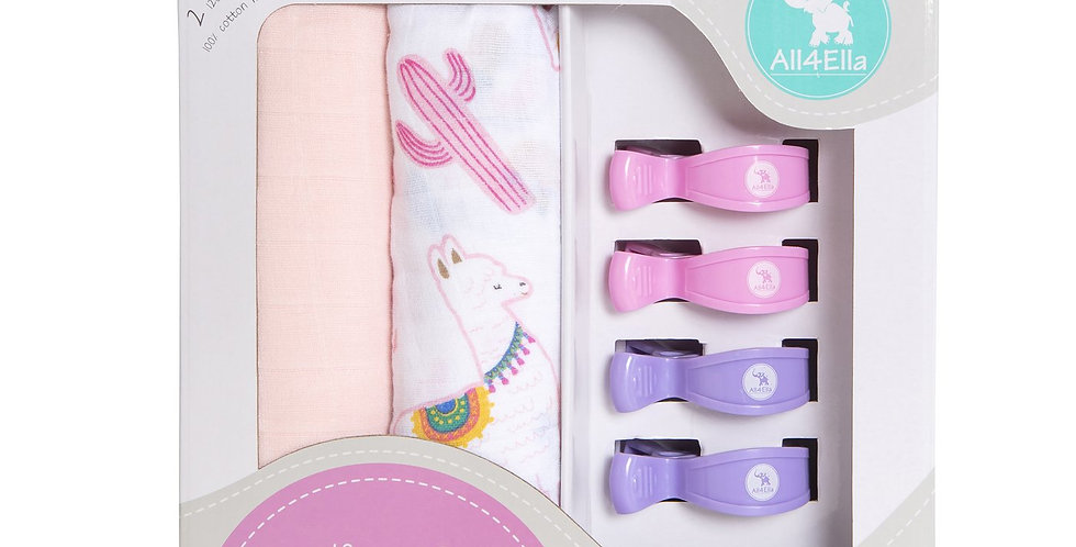 All4Ella - 2 Pack Wraps & 4 Pegs - Alpaca & Pink