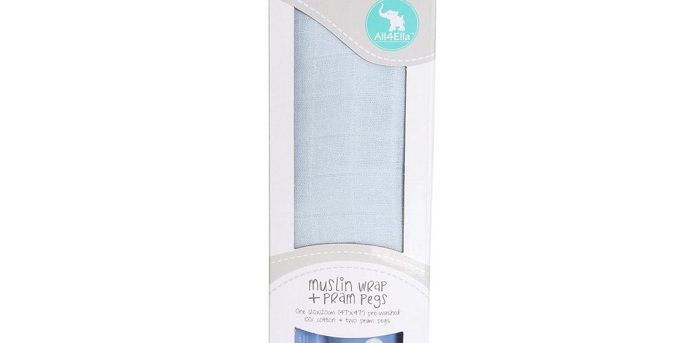All4Ella - Muslin Gift Set & 2 Pram Pegs - Blue