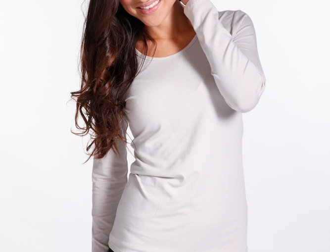 Bamboo Body - Christina Long Sleeve Scoop Neck Taupe