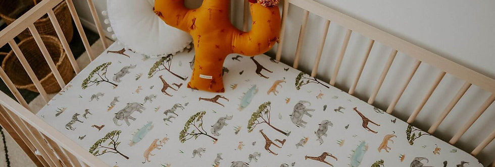 Snuggly Hunny - Safari Fitted Cot Sheet