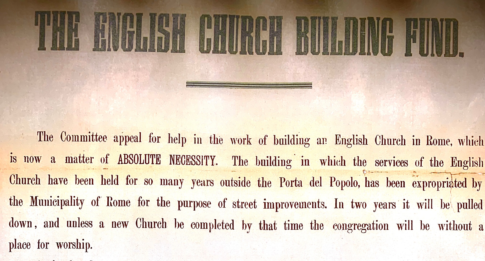 "Detail of the ""English Church Building Fund Appeal"" from 1880."