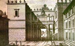 An early 19th century print of the Porta del Popolo with the Granary Chapel on the right.