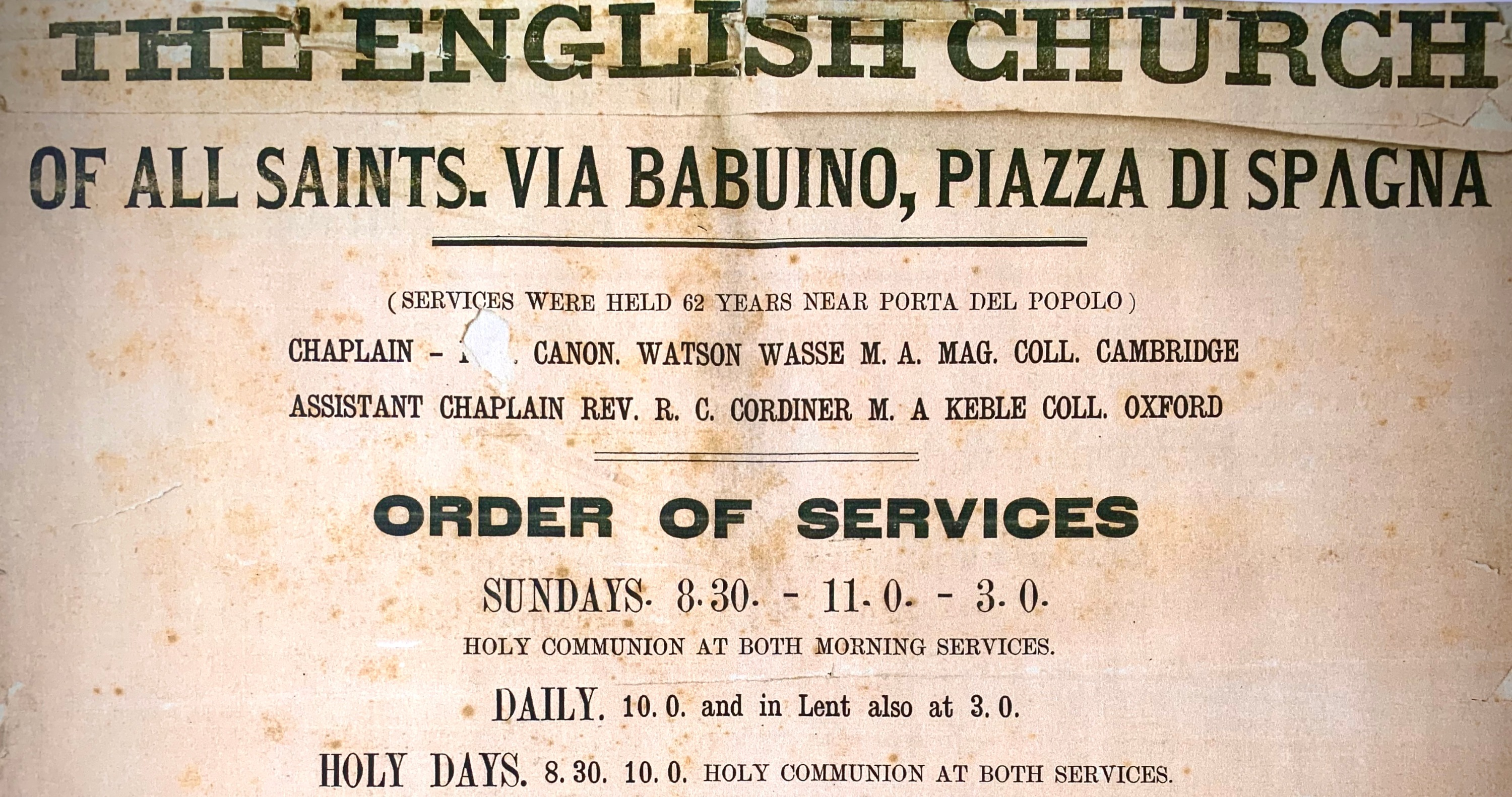 Detail of the first church banner with the service times, late 19th century.