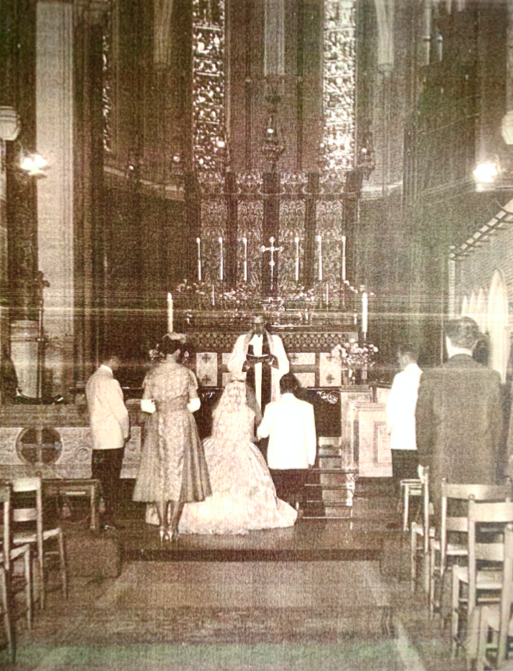 A wedding ceremony at All Saints' in the 1950s.