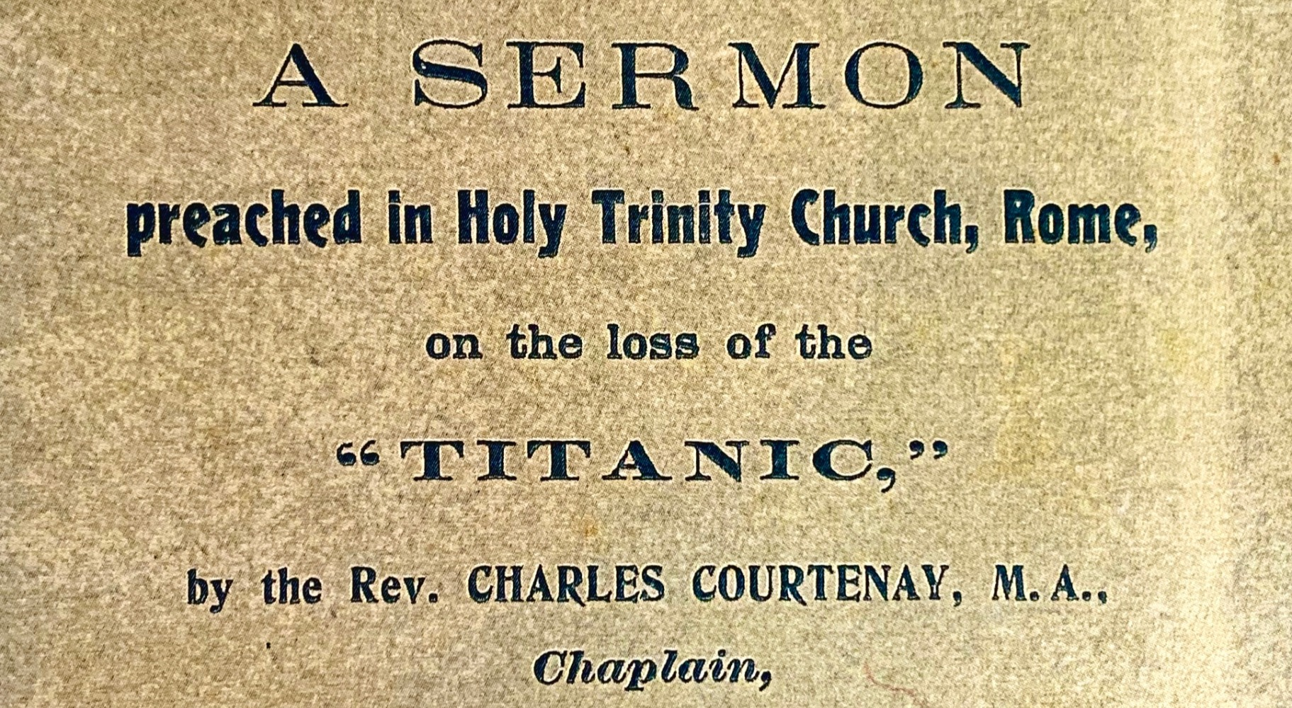 A sermon given at Holy Trinity in 1912.