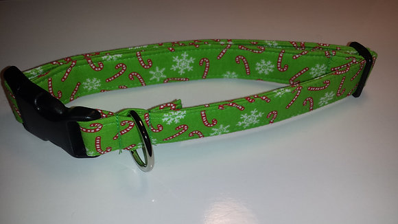 Christmas Candy Cane & Snow Flakes Buckle Collar