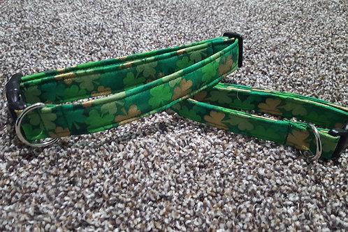 St. Patty's Day Green & Gold Shamrock Buckle Collar