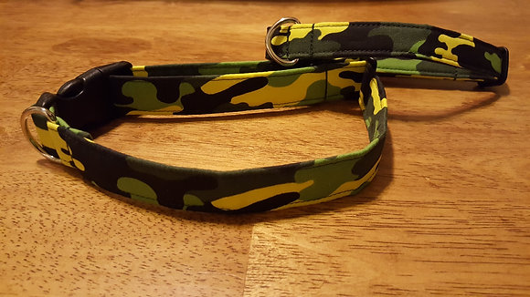 Bright Yellow & Green Camo Buckle Collar