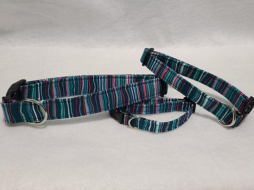 Teal Stripe Buckle Collar