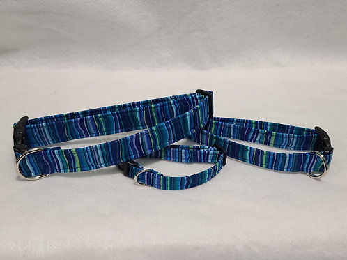 Blue Stripe Buckle Collar