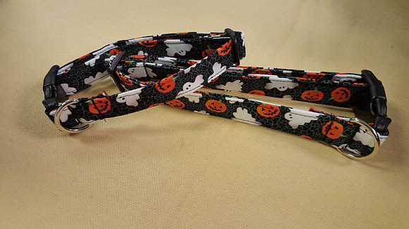 Halloween Ghost & Pumpkins Buckle Collar