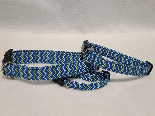 Blue ZigZag Buckle Collar