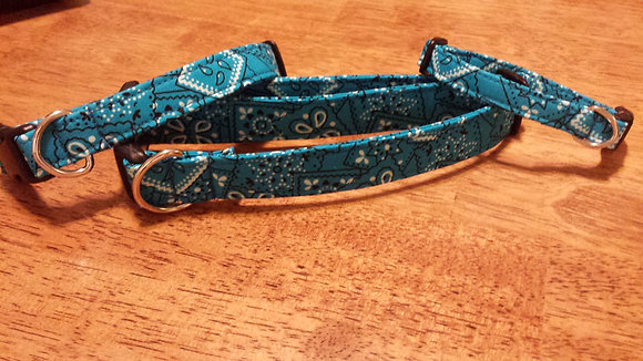 Teal Bandana Buckle Collar