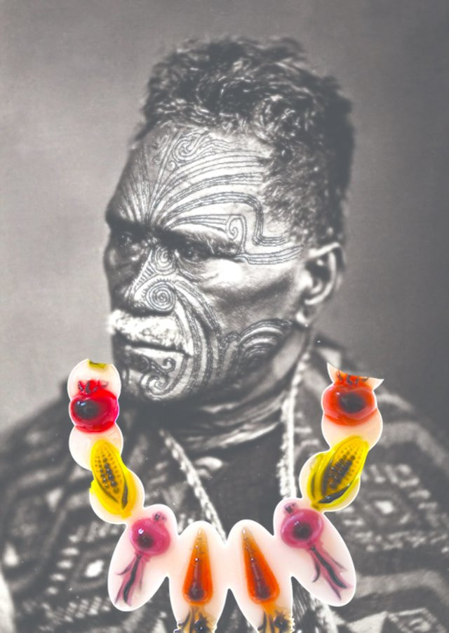 maori chef wearing his vegetable necklace