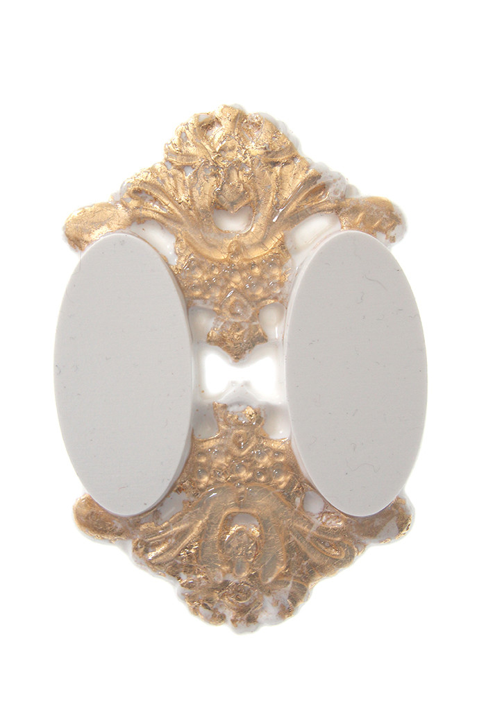 Brooch, white silicone, 24 ct gold leaves, magnets