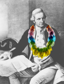 james cook wearing his feathers necklace