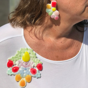silicone multi coloured brooch and earrings