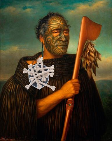 maori chief wearing his shame cannibalime badge
