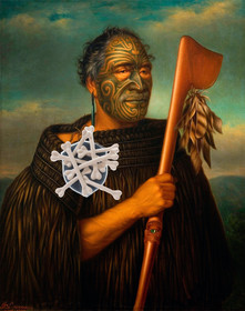maori chief wearing his shame cannibalime badge