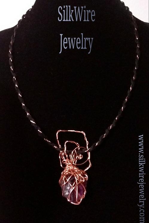 Unisex Amethyst Silk & Copper Necklace