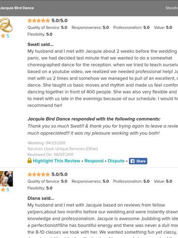 Wedding Dance Reviews of Jacquie Bird 12