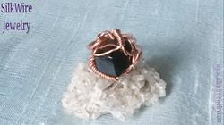 Black Garnet Ring SilkWire Jewelry