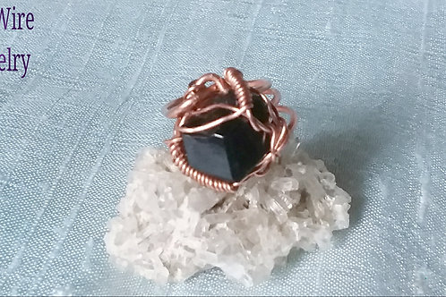 Unisex Black Garnet (Andradite) Copper Ring