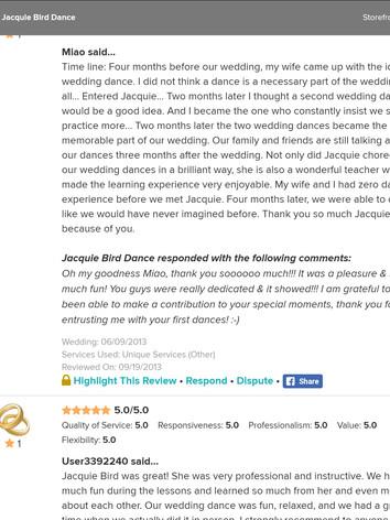 Wedding Dance Reviews of Jacquie Bird 5