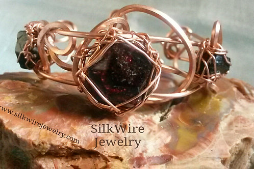 Unisex Garnet & Black Tourmaline Adjustable Copper Bracelet